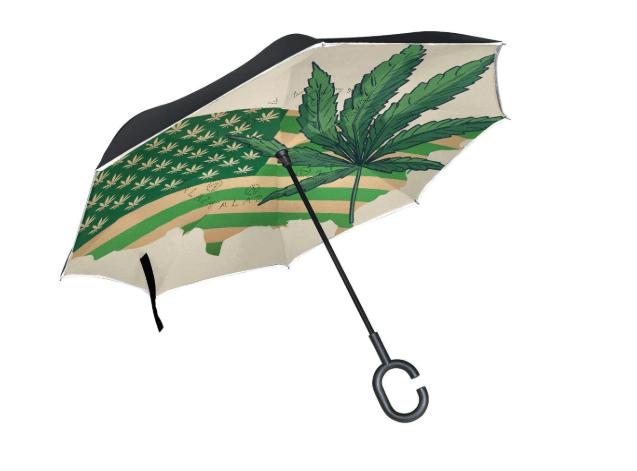 BENNIGIRY Marihuana Bandera Americana Doble Capa inverso Paraguas Plegable Paraguas Resistente al Viento UV protección Grande Recto Paraguas Coche Lluvia Exterior C Mango
