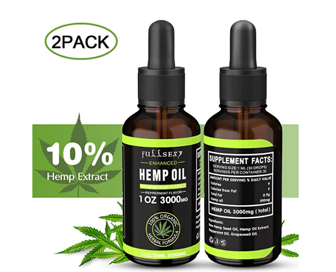 2 Pack 10% Aceite de Cáñamo 30 ML, Hemp Oil 3000 MG de Extracto de Cáñamo, Naturales, Orgánicas, Ricas en vitamina E, D, Omega 3 6 9, Mejorar Sueño, Analgésico y Antiinflamatorio