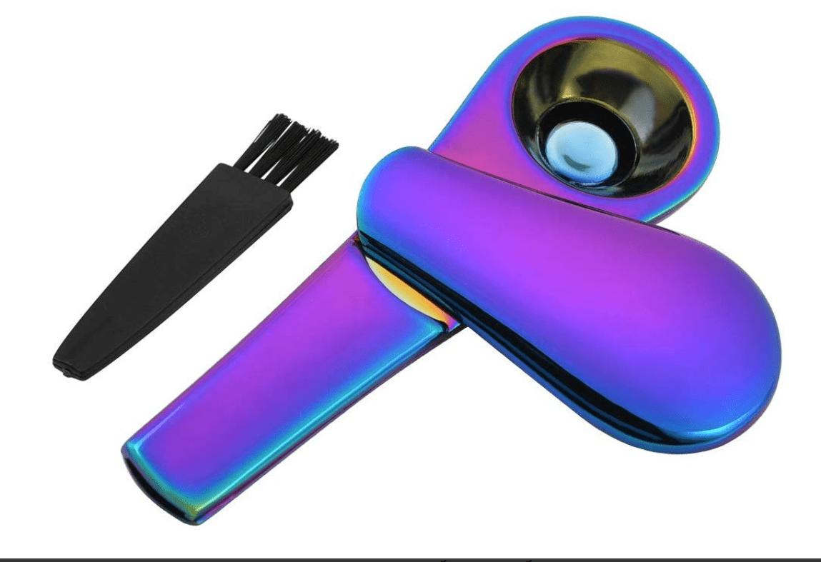 Cizen Pipa de Tabaco de Metal, Pipa Fumar de Portatil Aleación, Embalaje Caja de Regalo(Azul Hielo)