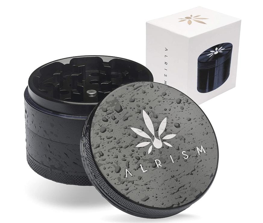 ALRISM - Grinder de cerámica de 4 piezas - Incluye funda, boquilla con filtro de vidrio, pincel y rasqueta para polen - 63 mm de diámetro...