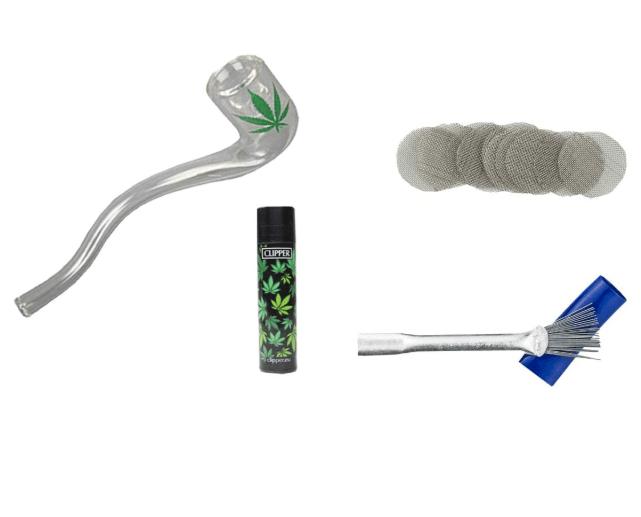 Kit Weedness - Pipa de Cristal de 12 cm con leafa, Pipa de Tabaco, Vidrio, 4-Teiliges Set