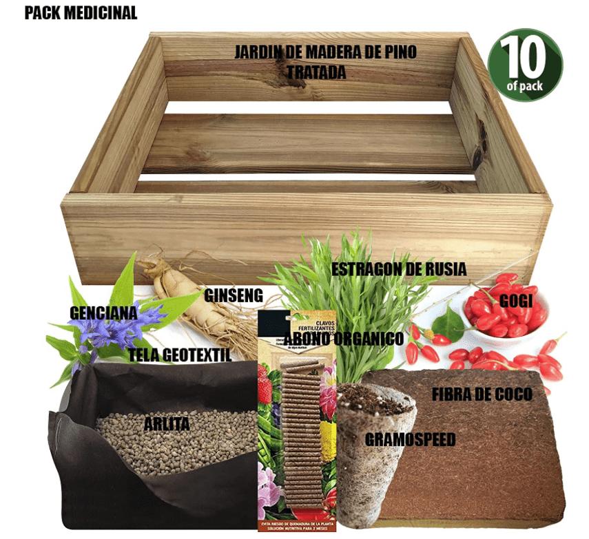 No Plan B for Earth Kit de Cultivo con Maceta de Pino Tratada. Semillas de ESTRAGON DE Rusia, GENCIANA, Ginseng, GOGI
